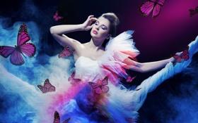 Картинка fantasy, dress, girls, female, butterflies