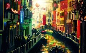 Картинка мост, город, люди, дома, картина, канал