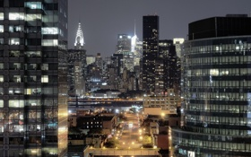 Картинка ночь, огни, нью-йорк, night, New York City, usa, manhattan