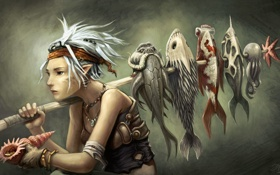 Картинка эльф, уши, осьминог, улов, девушка, палка, рыба