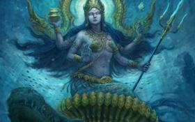 Картинка вода, фантастика, арт, божество, богиня, fantasy indian, Трезубец