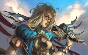 Обои оружие, игра, воин, united states, девушка. очки, kelley harris
