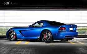 Обои синий, Dodge, парковка, Viper, додж, вайпер, blue