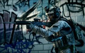 Картинка солдат, графити, Battlefield
