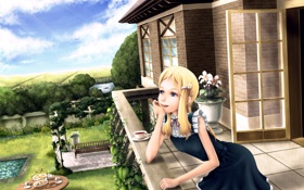 Обои лето, цветы, настроение, аниме, сад, девочка, балкон