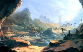 Картинка пейзаж, река, скалы, арт, Prince of Persia, путники