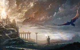Картинка кристалл, облака, мост, река, замок, птица, арт