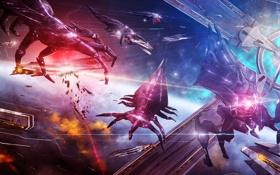 Картинка космос, catalyst, Destiny Ascension, ripers, mass effect 3, корабли, война