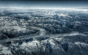 Обои Mountains, Glacier, Cloudscape, Landscape, Avaiation, Usa, Snowcapped