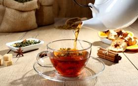 Картинка чай, яблоки, сахар, корица, заварник, бадьян