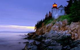 Картинка скалы, небо, маяк, море