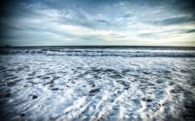 Обои море, волны, небо, пена, горизонт