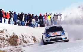 Обои Зима, Белый, Volkswagen, Скорость, Люди, Занос, WRC