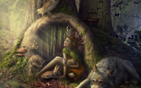 Картинка лес, животные, девушка, звери, сова, волк, олененок