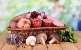 Обои зелень, корзина, перец, колбаса, салат, баночка