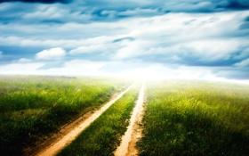 Обои дорога, поле, облака, горизонт, колея, просёлочная, Green pathway
