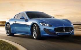 Картинка синий, Maserati, Спорт, суперкар, GranTurismo, передок, Sport