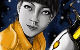 Картинка девушка, космос, portal, куб, фан арт, чел, chell