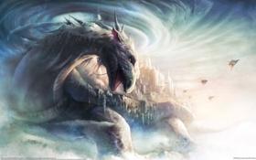Картинка город, молнии, дракон, звездолёты, Bin Wee