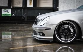 Обои silver, Mercedes, амг, диск, rain, мерседес, дождь