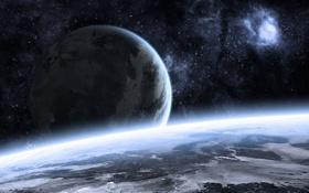 Обои Звезды, Планеты, Planets, Stars, landscape, Ландшафт, Пустота