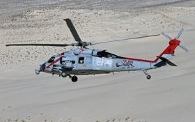 Обои полет, пустыня, вертолёт, многоцелевой, Sikorsky, UH-60, Black Hawk