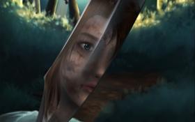 Картинка взгляд, лицо, отражение, арт, нож, Tomb Raider, Lara Croft