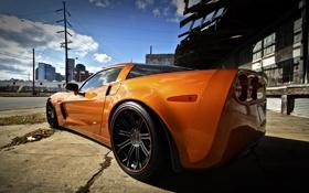 Картинка оранжевый, улица, corvette, шевроле, вид сзади, chevrolet, orange