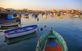 Картинка море, город, фото, лодки