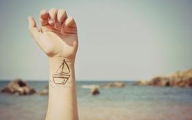 Обои волны, лето, рисунок, корабль, рука, якорь
