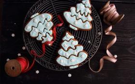 Обои зима, печенье, фигурки, выпечка, праздники, елочки, глазурь