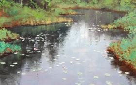 Картинка АРТ, РИСУНОК, ARTSAUS, POND REFLECTIONS
