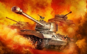 Картинка WoT, ИС-7, World of Tanks, PzKpfw VI Tiger, Мир Танков, Wargaming Net, M46 Patton