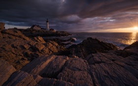 Обои lighthouse, sea, coast, ocean, sunset, cloud