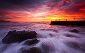 Картинка камни, океан, рассвет, Австралия, South Curl Curl Pool