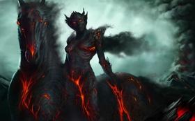 Обои огонь, женщина, лава, трещины, Adam Duff, арт, горы