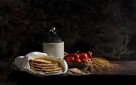 Обои бутылка, хлеб, колосья, натюрморт, помидоры
