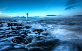 Обои море, небо, облака, камни, маяк, кран, порт