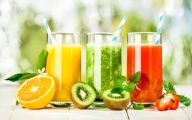 Картинка ягоды, фрукты, цитрусы, фруктовый коктейль