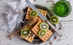 Обои киви, нож, waffles