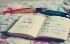 Картинка блокнот, ручки, текст, слова