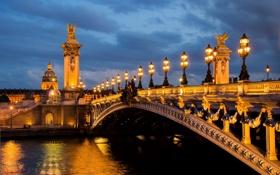 Картинка огни, отражение, Франция, Париж, вечер, Сена, сумерки