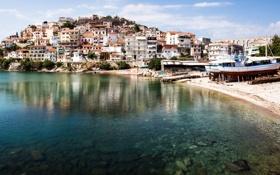 Обои побережье, дома, Northern, Греция, лодки, море