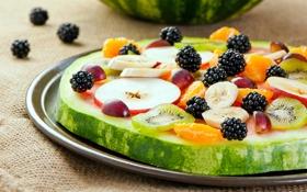 Картинка apple, яблоко, арбуз, киви, виноград, банан, ежевика