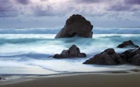 Обои море, волны, шторм, камни, прилив