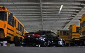 Обои чёрный, bmw, бмв, black, вид сзади, 335i, школьные автобусы