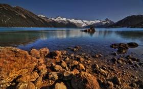 Картинка лес, вода, снег, горы, озеро, камни