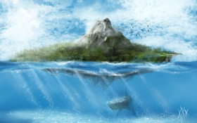 Обои море, вода, облака, птицы, фантастика, остров, гора