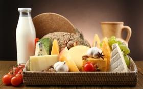 Картинка бутылка, сыр, молоко, виноград, кувшин, помидоры, чеснок