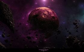 Картинка астероиды, обломки, планеты